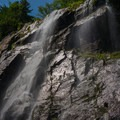 Looking up at Rainbow Falls.- Rainbow Falls on the Adirondack Mountain Reserve