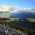 View to the southeast from the summit ridge.- Bachelor Mountain