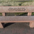 A bench marking the end of William Clark's Pacific Journey.- Lewis and Clark Discovery Trail