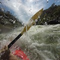 Plunging into a wave.- South Fork of the American River: The Gorge, Greenwood to Salmon Falls Bridge