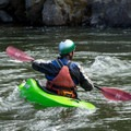 A kayaker enters the current.- South Fork of the American River: The Gorge, Greenwood to Salmon Falls Bridge