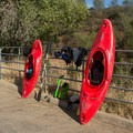 Drying off gear before loading boats into the car.- South Fork of the American River: The Gorge, Greenwood to Salmon Falls Bridge