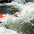Inflatable kayakers are knocked off at Satan's Cesspool.- South Fork of the American River: The Gorge, Greenwood to Salmon Falls Bridge