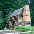 The recreated slave cabin in the Pioneer Farm at Mount Vernon.- George Washington's Mount Vernon