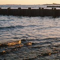 Calm, low tide waters by the jetty on the Long Island Sound side.- Burying Hill Beach