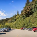 The parking area at InterRiver Park.- Blue Pools in Lynn Canyon