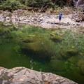 Casting a line at the Blue Pools on Lynn Creek.- Blue Pools in Lynn Canyon