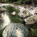 Swimming at the Blue Pools.- Blue Pools in Lynn Canyon