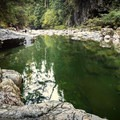 Looking downstream.- Blue Pools in Lynn Canyon