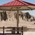 Shaded picnic areas in Red Rock Canyon State Park.- Ricardo Campground