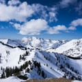 The view looking west over the Wasatch Range from the summit of Sunset Peak.- Catherines Pass Backcountry Ski