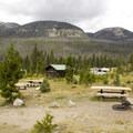 A typical campsite at Timber Creek with views of the Never Summer Range.- Timber Creek Campground