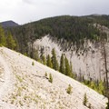 The blanched slopes of Little Yellowstone Canyon.- Little Yellowstone via the La Poudre Pass Trail