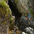 When the water is low, it's possible to climb part way up the falls.- Roaring Brook Falls