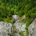 Looking down the face of the falls at low water.- Roaring Brook Falls