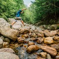 Rock hopping back up the stream bed.- Roaring Brook Falls