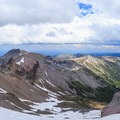 Panorama of storm clouds forming over the Inter Glacier.- Mount Rainier: Emmons-Winthrop Glacier Route
