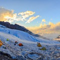Panorama of Camp Schurman at sunset.- Mount Rainier: Emmons-Winthrop Glacier Route