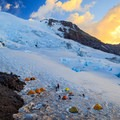 The summit to the left, Russel Cliff above and to the right from Camp Schurman.- Mount Rainier: Emmons-Winthrop Glacier Route