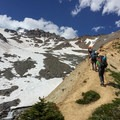 After leaving Glacier Basin, the unmaintained trail becomes steep.- Mount Rainier: Emmons-Winthrop Glacier Route