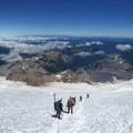 Panorama from approximately 11,000 feet with Little Tahoma on the right.- Mount Rainier: Emmons-Winthrop Glacier Route