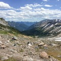 View to the east down Glacier Basin from the Wedge.- Mount Rainier: Emmons-Winthrop Glacier Route
