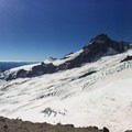 Panorama as seen from Camp Curtis with the summit to the right and Little Tahoma to the left above the Emmons Glacier- Mount Rainier: Emmons-Winthrop Glacier Route