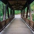 Covered bridge along the trail to Vickery Creek.- Vickery Creek