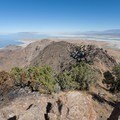 View north from the summit. The trail is faintly visible in the center-right.  - Frary Peak