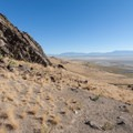 Rock outcrop, northern Wasatch Mountains in the distance.  - Frary Peak