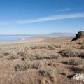 View northwest toward Buffalo Point and the Great Salt Lake.  - Frary Peak