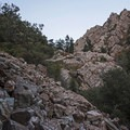 The large rock slide at the top of the main trail- Heughs Canyon Trail