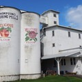 The silos are brightly painted with the mill logo.- Thompson's Mills State Heritage Site