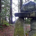 Large stacked stones mark the junction where art and nature meet.- Big Rock Garden