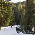 Crossing the bridge over the East Fork of Hood River.- Gunsight Ridge Backcountry Ski via Pocket Creek