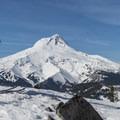 Looking northwest toward Mount Hood.- Gunsight Ridge Backcountry Ski via Pocket Creek