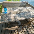 Tables are built in to the picnic area.- Saugerties Lighthouse