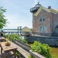 The lighthouse from the adjacent deck.- Saugerties Lighthouse
