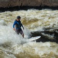 Garburator isn't just for kayakers; river surfers love it too.- Ottawa River: Main Channel