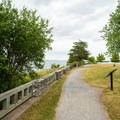 A walking path runs along the perimeter of the battlefield.- Sackets Harbor Battlefield