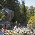 One of the larger waterfalls near the first bridge. Water levels are low late in the year.- Little Cottonwood Trail