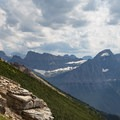 Ascending the Garden Wall with a view to Logan Pass.- Garden Wall