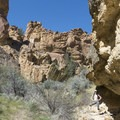 Towering rock formations on the Juniper Gulch Hike.- Juniper Gulch