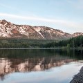 Mount Tallac from the beach at Fallen Leaf Lake.- Fallen Leaf Lake Campground