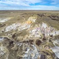 Aerial view of the Paint Mines Interpretive Park.- Paint Mines Interpretive Park