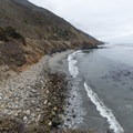 About half of the beach is covered in large rocks and kelp.- Mill Creek Beaches + Picnic Area