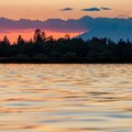 Mount Shasta seen in the distance during sunset.- Horr Pond