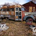 A rusted out bus: just one of the creative lodging options at Mystic Hot Springs.- Mystic Hot Springs