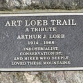 The Art Loeb Trail commemorative plaque.- Art Loeb Trail