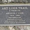 The Art Loeb Trail commemorative plaque.- Art Loeb Trail
